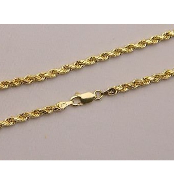 b3f8d07c41e16 14K Solid Gold Diamond Cut Rope Chain 24
